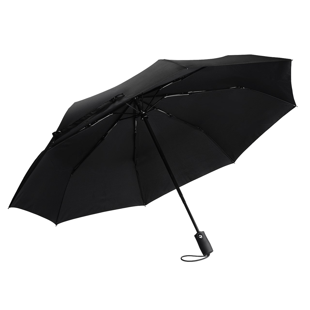 TopElek Compact Umbrella, Lifetime Replacement Guarantee, Auto Open & Close Travel Folding Umbrella with Reinforced 9 Ribs, Windproof Fast Drying Umbrella, Slip-Proof Handle for Easy Carry, Black 632423578172