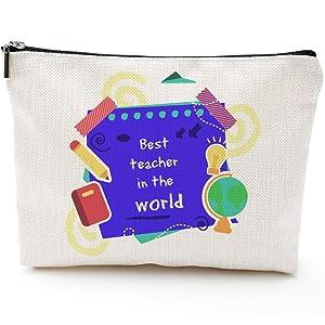 Best Teacher In The World -Teacher Gifts,Teacher Gifts for Women,Teacher Appreciation Gifts for Women- Preschool Teacher gifts -Pencil Pouch Makeup Bag