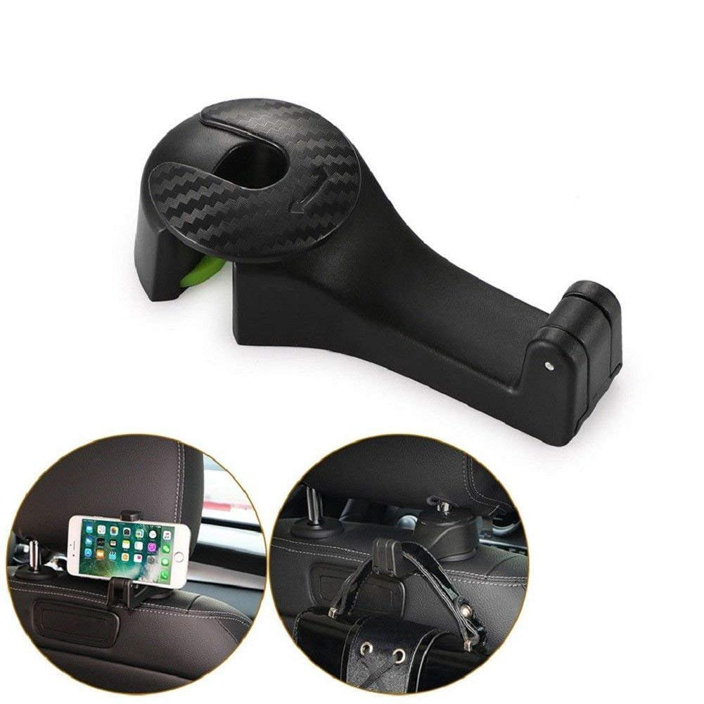 Colorcasa 2018 New 2in1 Multi-Functional Car Headrest Hook with Phone Holder (Black)