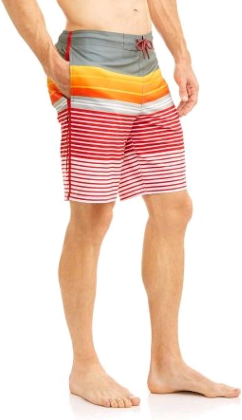 "George Striped Above The Knee 8"" Inseam Eboard Swim Short Trunks"