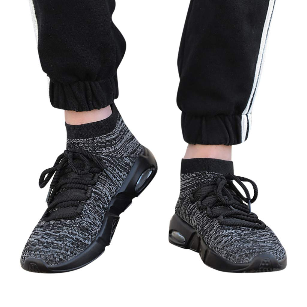 Gyouanime Mens Slip On Runing Shoes Lace Up Knitted Sport Lightweight Running Shoes Sneakers Loafers Gray