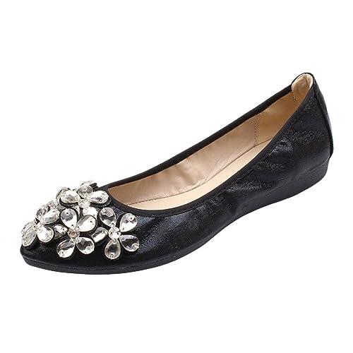 Zapatos de Vestir para Mujer Otoño PAOLIAN Calzado de Dama Plano Maternidad Suela Blanda Cómodos Moda Calzado de Trabajo Cuña Adornos Fiesta Zapatillas ...
