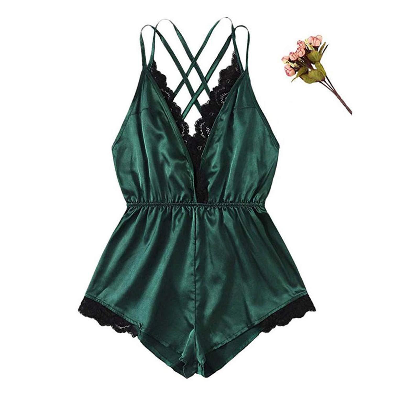 45b42913741cf Summer Women Sexy Lace Satin Lingerie Lady V-Neck Lace Splice Home  Sleepwear Pijamas for Woman Roupas Feminina Piyama at Amazon Women's  Clothing store: