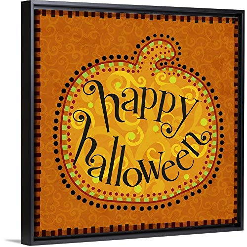 - Calico Pumpkin Halloween Black Floating Frame Canvas Art, 22