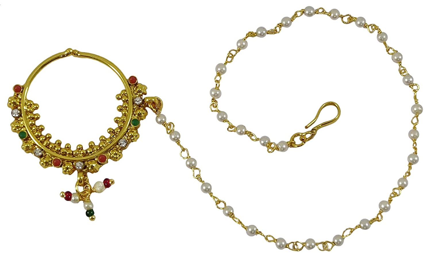 Matra Indian Bollywood Traditional Goldtone CZ Nose Ring Nath Bridal Women Jewelry