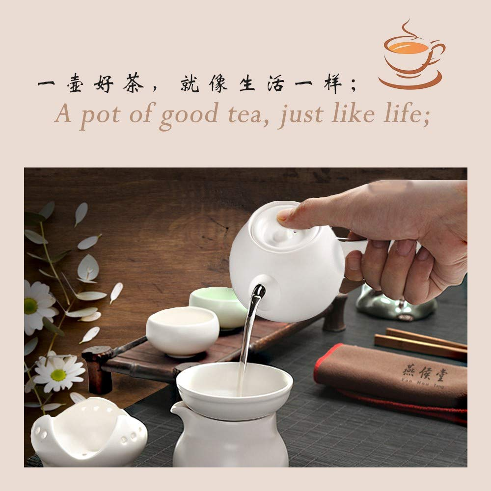 Yan Hou Tang White Elegant Japanese style Ceramics Glass Solo tea pot infuser and 2 cups set round the side of the handle Loose Leaf for Drink