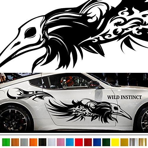 クロウカーステッカーwa43■バイナルグラフィック車ワイルドスピード系デカール鴉(ブラック)★色変更可★ B01KH3SZDI