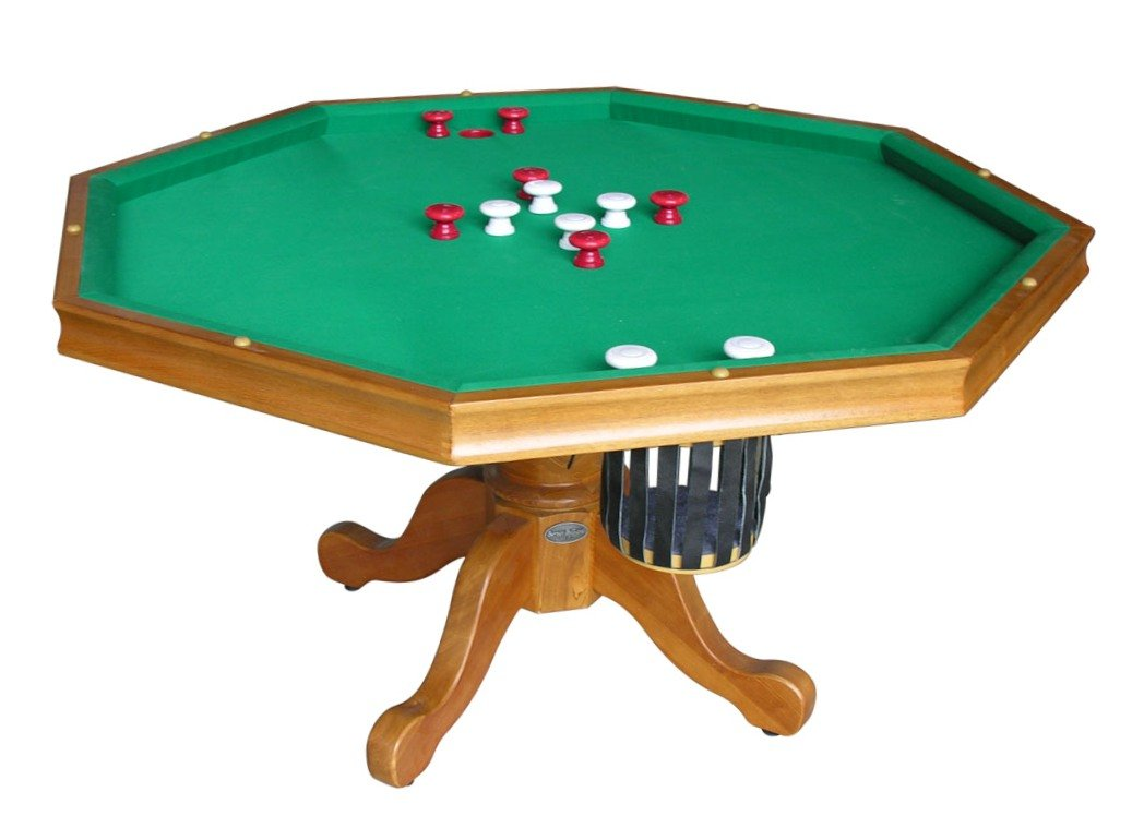 3 in 1 Game Table - Octagon 54'' Bumper Pool, Poker & Dining in Oak By Berner Billiards