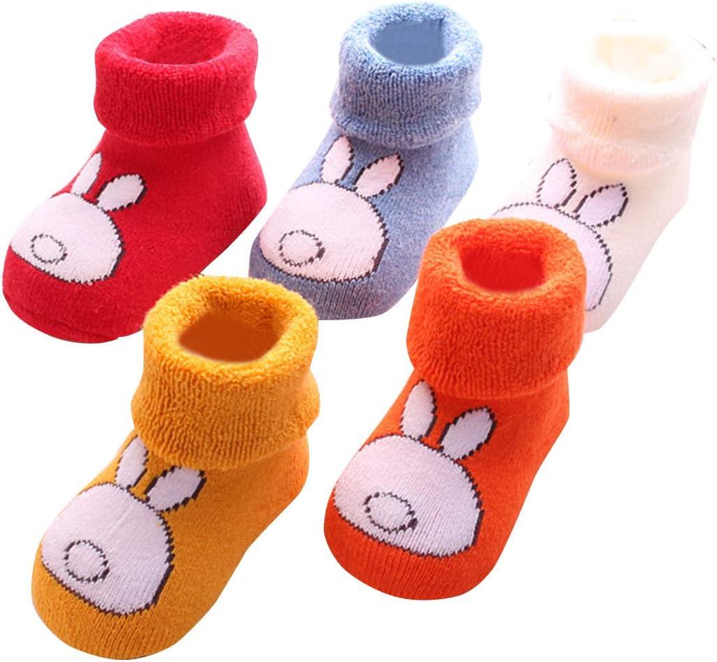 Baby Boy Winter Socks 5 Pairs Unisex Girls Boys Toddler Infant Anti-Slip Socks Cartoon Animals 0-24 Months