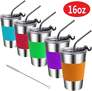 Stainless Steel Kids Cups with Lids and Straws,Vermida 16oz Metal Kids Straw Cups with Lids,Spill Proof Kids Sippy Cups with Straws,Kids Straws Drinking Tumblers with Lids for Kids and Children,Adults