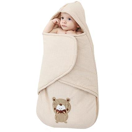 Vine Encapuchado Bebé Saco de dormir Envolverse Calor 2.5 Tog Año completo Patrón lindo oso 80cm