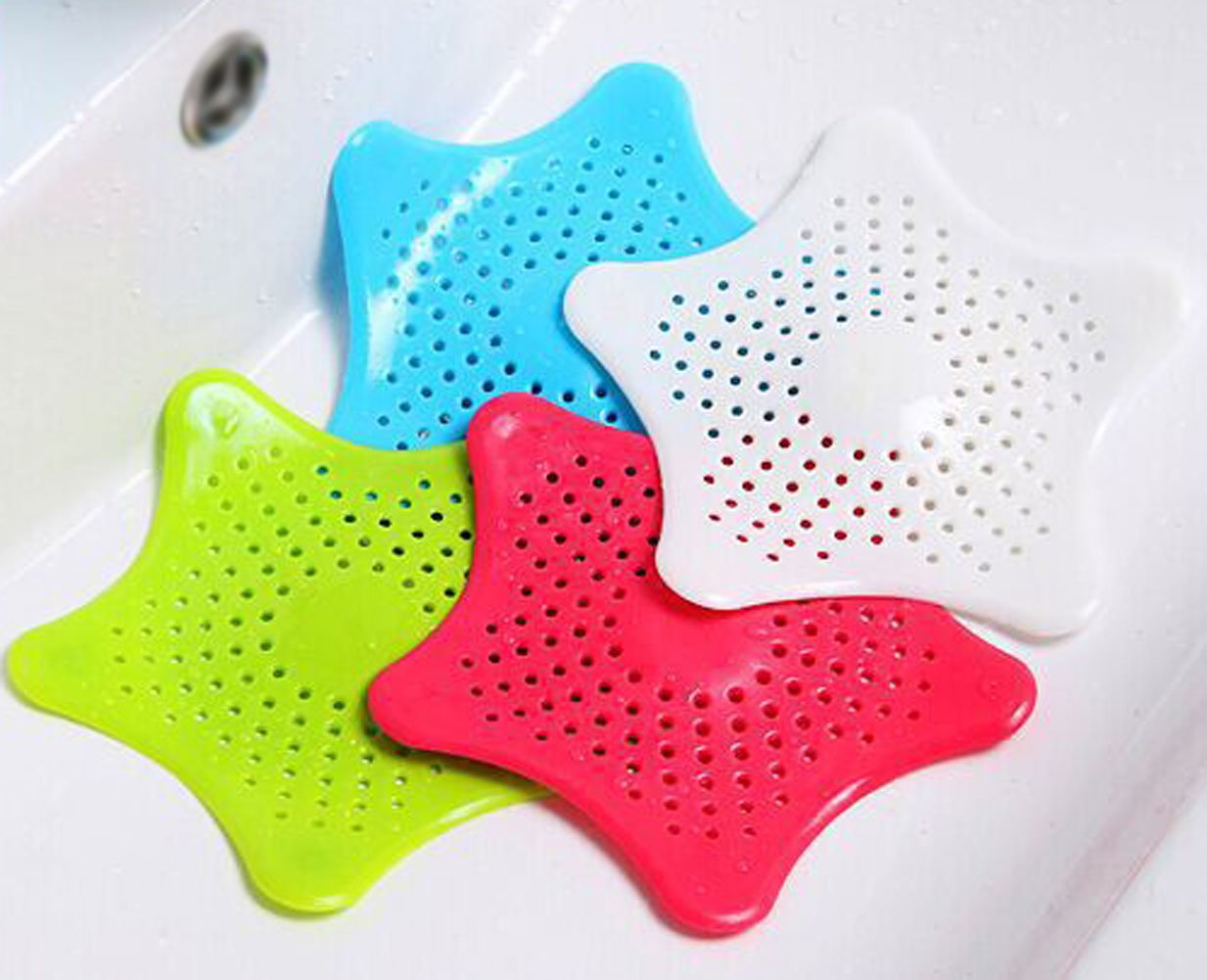 Hair Catcher Starfish Drain Cover Waste Filter Drain Protector Shape With Sucker Cup -4 pieces AISHNE