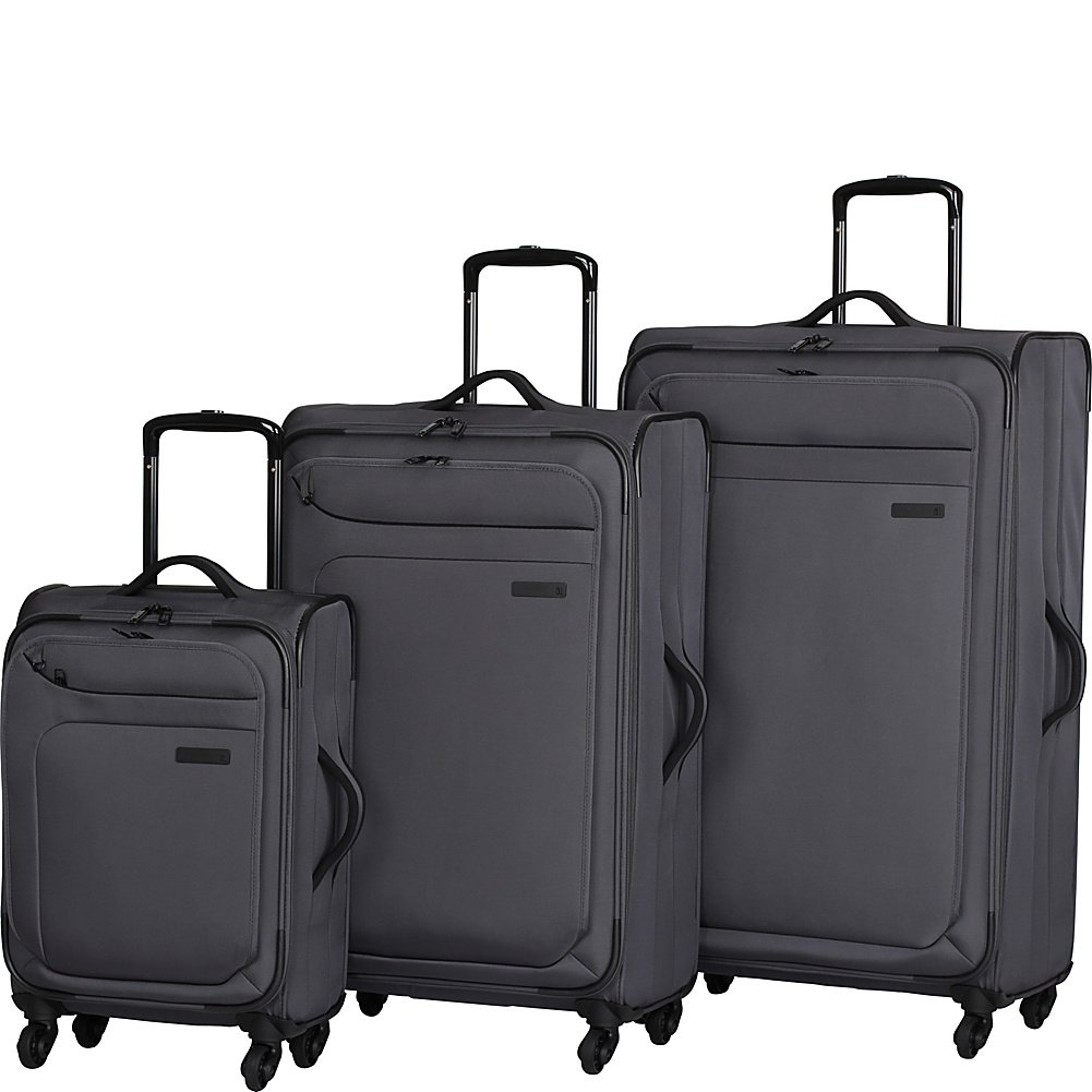 it luggage Megalite 4 Wheel Spinner 3 Piece Luggage Set Charcoal