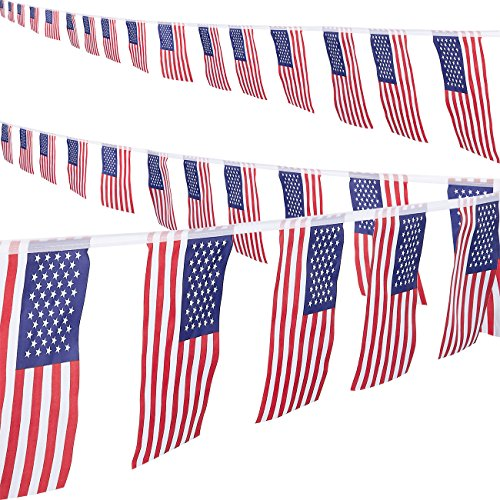 Juvale American Pennant Flag Banner - 2-Piece Patriotic Bunting Flag String for 4th of July, Memorial Day, Veteran's Day, Labor Day Decoration, 8.6-Yard -