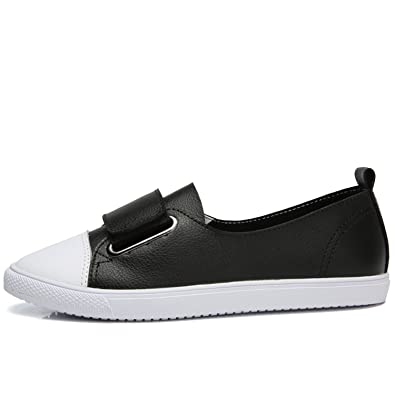 Leather Women Casual Shoes Shoes Women Tenis Flats Loafers Women Platform Ladies Shoes Black 4.5