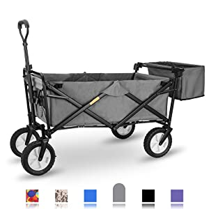 "WHITSUNDAY Collapsible Folding Garden Outdoor Park Utility Wagon Picnic Camping Cart with Replaceable Cover (Standard Size 8"" Wheels, Grey)"