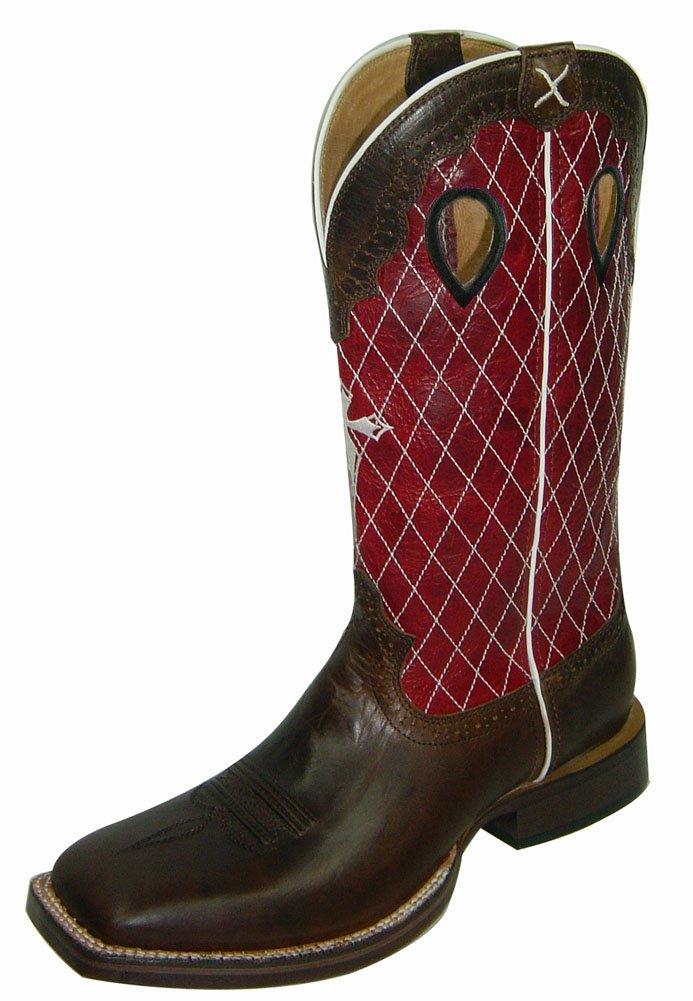 Twisted X Boots Men's MRSL014 Gold Buckle,Walnut/Red,US 9.5 D
