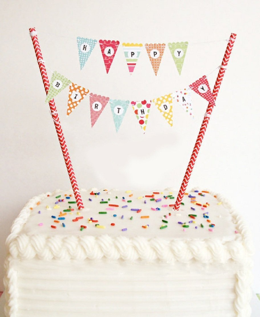 ELSKY Mini Happy Birthday Cake Bunting Banner Topper