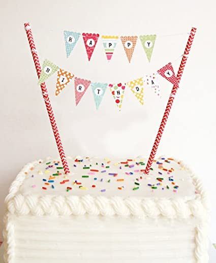 Elsky Mini Happy Birthday Cake Bunting Banner Topper Garland Handmade Pennant Flags With Red