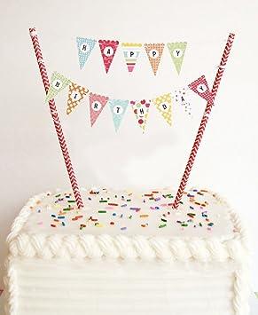 ELSKY Mini Happy Birthday Cake Bunting Banner Topper