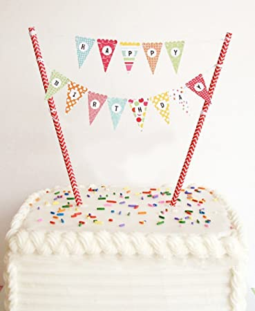 Amazoncom ELSKY Mini Happy Birthday Cake Bunting Banner Cake