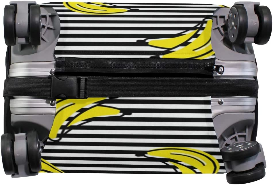 Travel Luggage Cover Yellow Banana White Black Striped Pattern Suitcase Protector