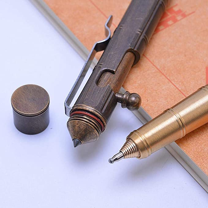 Rostfreier Stahl Messing Taktischer Stift Selbsthilfe Kugelschreiber Metall NEU