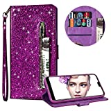 Luxury Glitter Bling Zipper Wallet Phone Case for Huawei P20 Pro, MOIKY Bookstyle PU Leather Flip Folio Magnetic Purse Pockets Credit Card Holder Wrist Strap Case Cover for Huawei P20 Pro - Purple