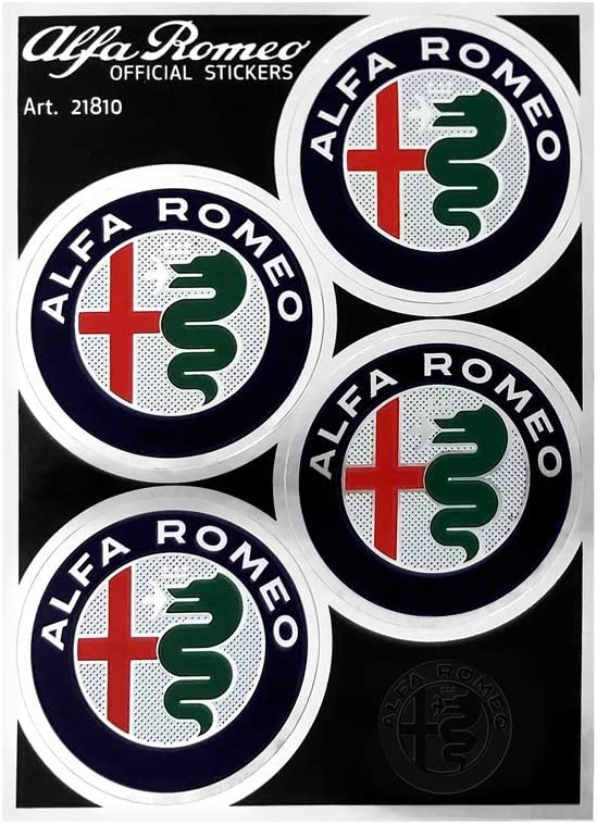 Alfa Romeo 21810 Official Stickers 4 Logos 48 mm, 94 x 131 mm