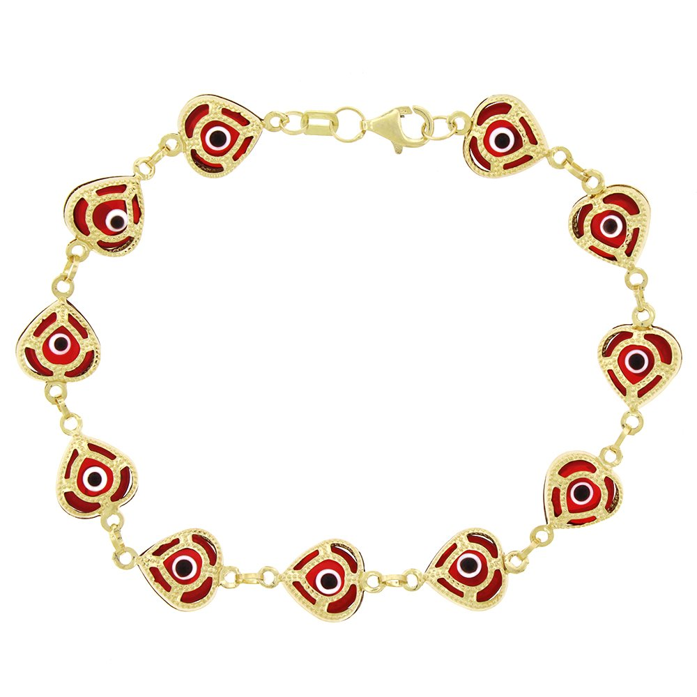 14k Yellow Gold Womens 9mm Clear Red Evil Eye Heart Good Luck Charm Bracelet Chain 7.5'' by In Style Designz