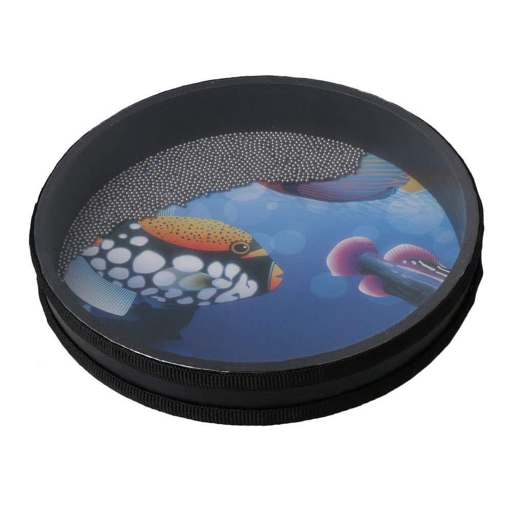 Yibuy Wave Bead Ocean Drum Percussion Juguete con Pez Patton para Ni/ño 10 pulgadas