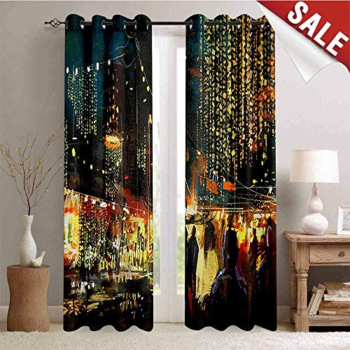 Night Kitchen Gromets Curtain and Valances Set Drapes for Bedroom, Painting of Shopping Street City with Colorful Nightlife Abstract Brushstrokes Art Party Darkening Curtains, Multicolor, W96 x -