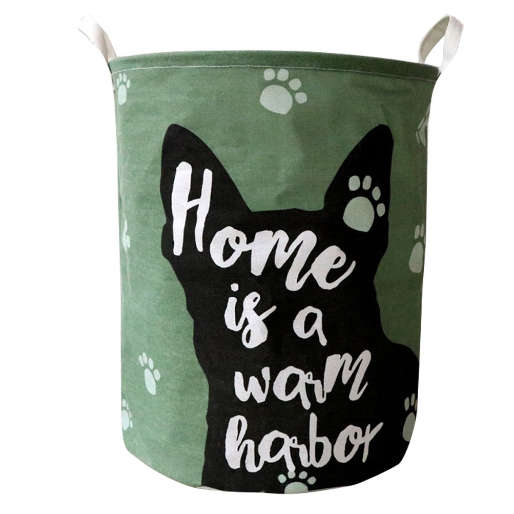 Fieans Large Laundry Basket Folding Washing Storage Bin Dirty Clothes Hamper with Handles Cute Animals Decorative Basket - Green