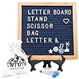 Changeable Felt Letter Board Set - Navy blue 10X10 inches oak wood frame message board with wall mount hanger, 340 White Letters, numbers, symbols & Signs, free Stand, Canvas Bag & Scissor