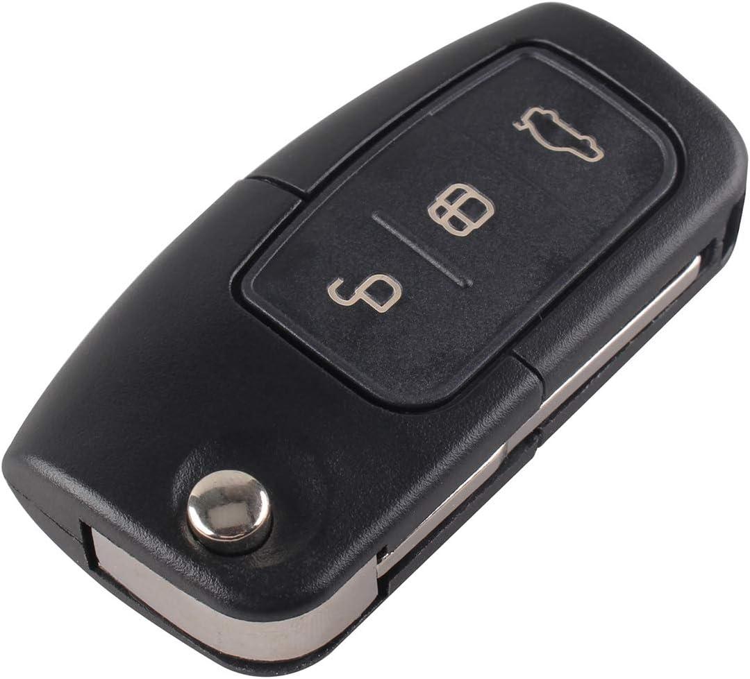 Lot de 2 Coques Pliables /à 3 Boutons pour cl/é /à Distance Compatible avec Ford Focus Fiesta C-Max S-Max Kuga Mondeo MK4 Galaxy Square Blade 2 Pcs