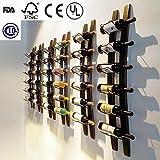 """LINEX Wine Barrel Stave Hanging Wine Rack Handcarved 6 Bottle Barrel Stave Wall Wine Rack (Browm, 36"""" X 8"""" X 5"""")"""