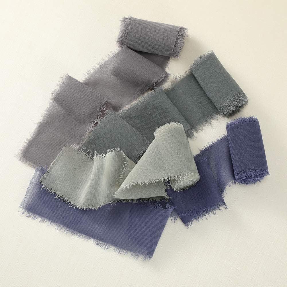 Gift Wrapping FANEYA Handmade Fringe Chiffon Silk-Like Ribbon 1.5 x 3Yd Blue Shade Ribbons Sample Swatch Chart for Wedding Invitations Black//Dusty Blue//Grey//Ivory Bouquets
