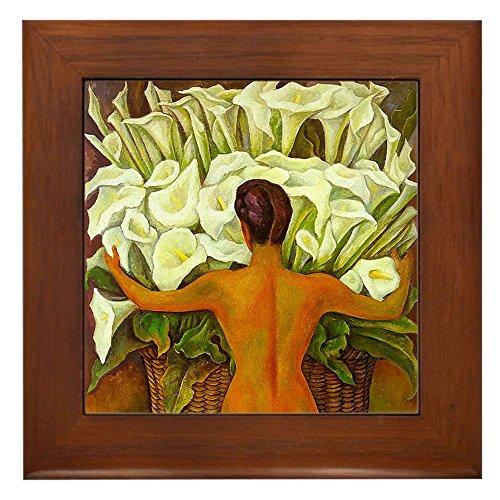 CafePress - Diego Rivera Art Framed Tile Nude with Cala Lilies - Framed Tile, Decorative Tile Wall Hanging