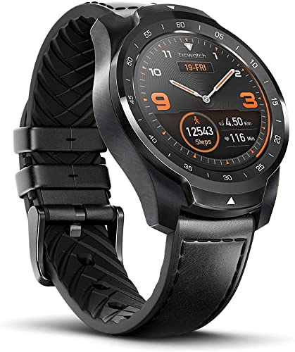 Ticwatch Pro 2020 Smartwatch 1GB RAM, GPS Layered Display Long Battery Life, Wear OS by Google, NFC, 24H Heart Rate, Sleep Tracking, Music, IP68 Water Resistance, Compatible with Android iOS, Black