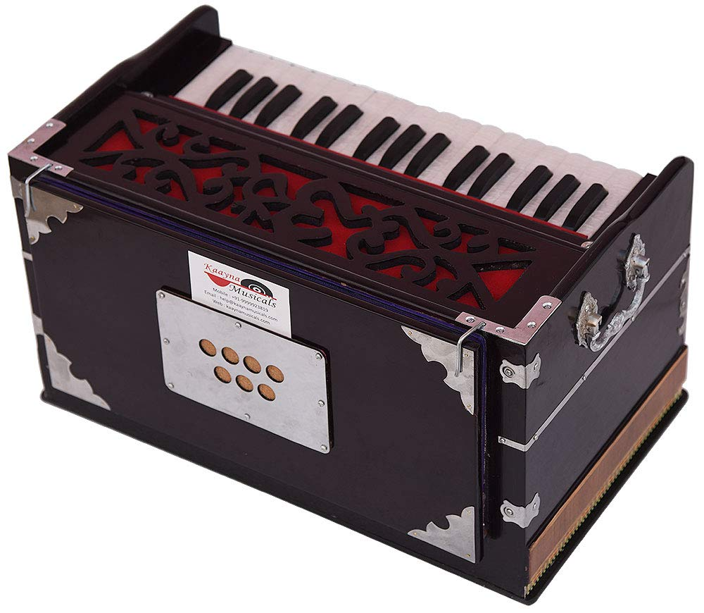 OM Harmonium Mini Magic By Kaayna Musicals, 4 Stop- 2 Main & 2 Drone, 2¾ Octave, Dark Cherry Colour, Gig Bag, Bass/Male- 440 Hz, Best for Yoga, Bhajan, Kirtan, Shruti, Mantra, Meditation, Chant, etc. by Kaayna Musicals (Image #6)