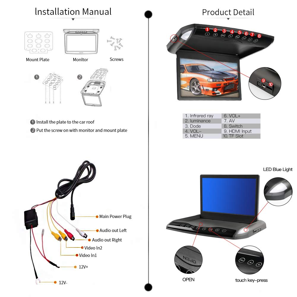 Car Rear View Reverse Camera 480 TV Line HD CMOS 170/° Wide View Waterproof Vehicle Auto Backup Parking Night Vision Camera CL838 CL838LED