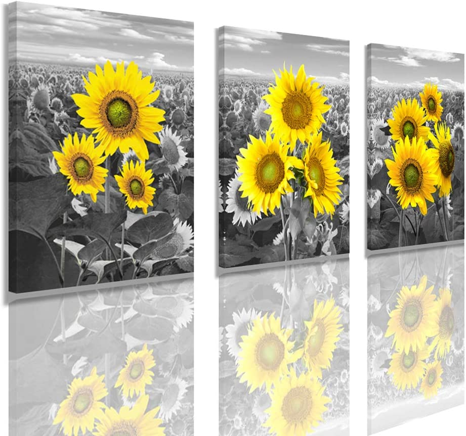 N/H Canvas Wall Art Black and White Pastoral Scenery Sunflower Flowers Retro for Living Room Family Bedroom Wall Art Painting Home Decoration Bathroom Wall Decor Kitchen (Black and White, 1216inh)