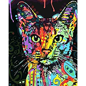 Komking DIY Oil Painting, Paint by Numbers Kit for Adults Beginner, Creative Painting on Canvas 16x20inch (Colorful Cat)