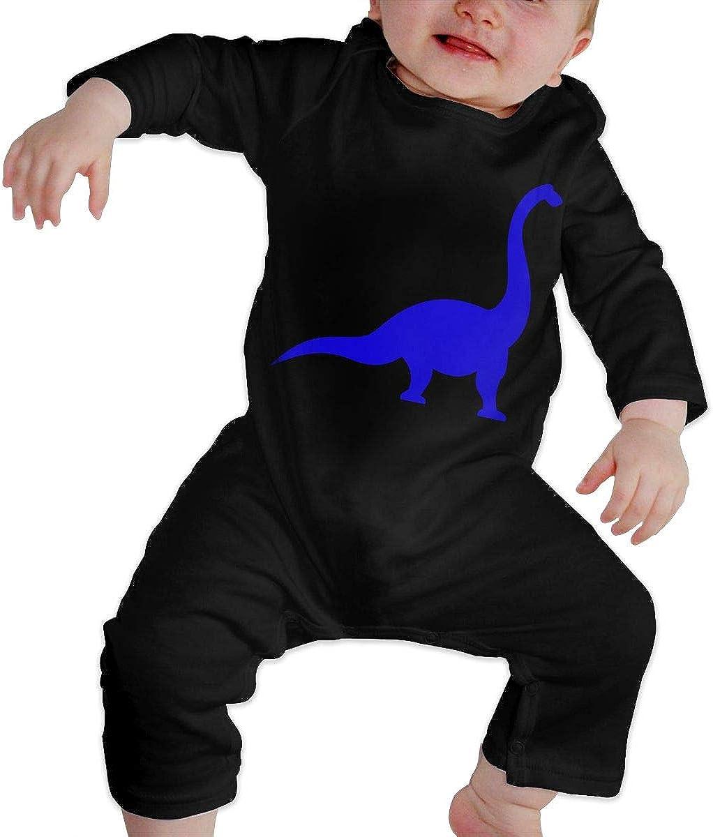 YELTY6F Brachiosaurus Dinosaur Printed Baby Boys Girls One-Piece Suit Long Sleeve Pajamas Black