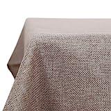 Deconovo Waterproof Tablecloths Faux Linen Wipeable Tablecloth Rectangle Tablecloth for Dining Table 137x274CM Linen