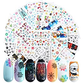 30Sheets Christmas Nail Art Stickers Snowflakes Snowman Bell Sock Star Reindeer Winter Designs Nail Water Decals for Women Personal Beauty Care Manicure Wraps Decorations Christmas Party Favors