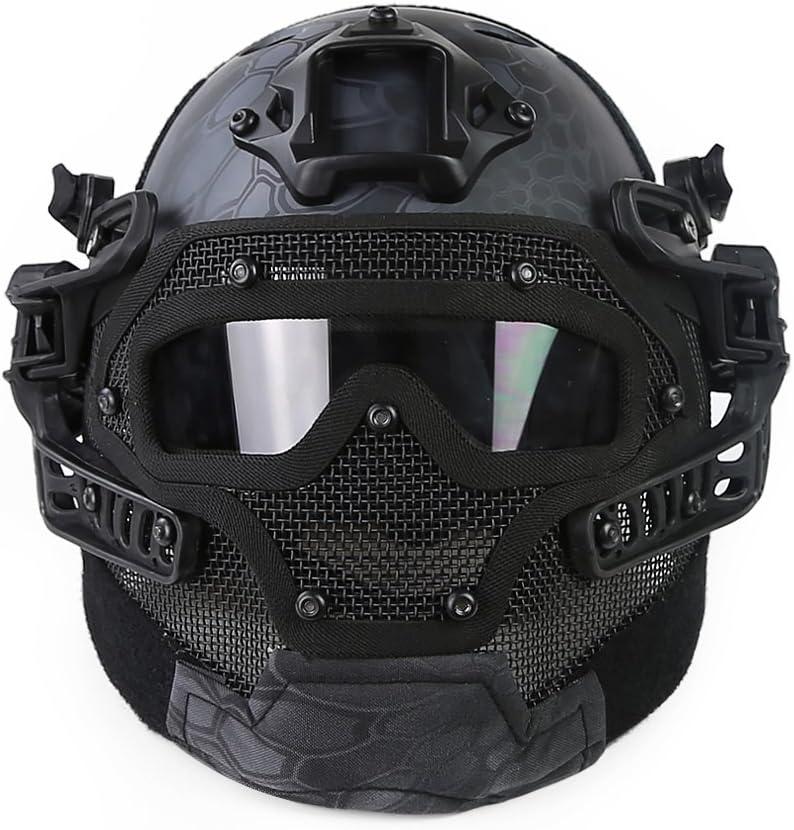 Gocher Casco con Gafas Protectoras y máscara de Malla para Juegos de Paintball de Airsoft