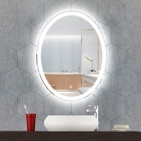 LUVODI Miroir LED Salle de Bain Ovale 50x70 cm avec Éclairage Intégré  Miroir Mural Lumineux Anti-buée avec Lumière Blanche Froid/Banche Chaud  pour ...