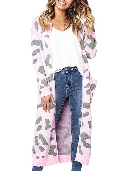 3e9e01763fb89d Boyfriend Cardigans for Women Chic Full Sleeves Warm Out Wear Coats Pink  Medium