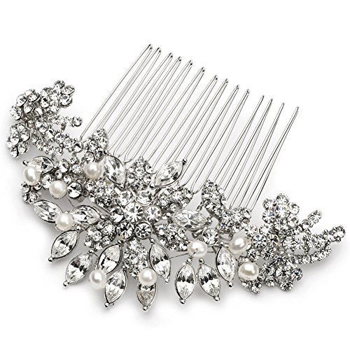 USABride Silver-Tone Rhinestone & Simulated Pearl Starburst Comb, Bridal Hair Accessory 2228 by -